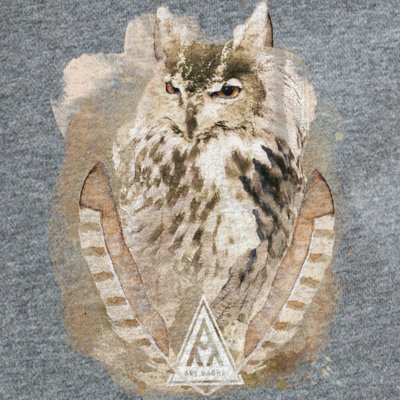 Ars Magna Ancient Owl on dark heather grey