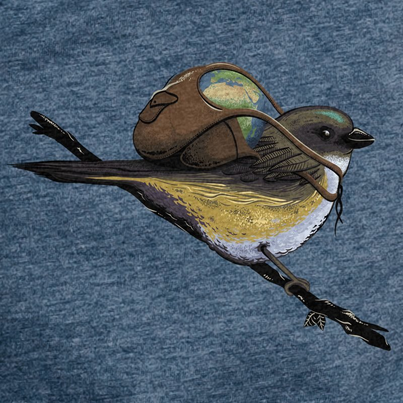 Robert Richter Save the Planet Bird dark heather blue