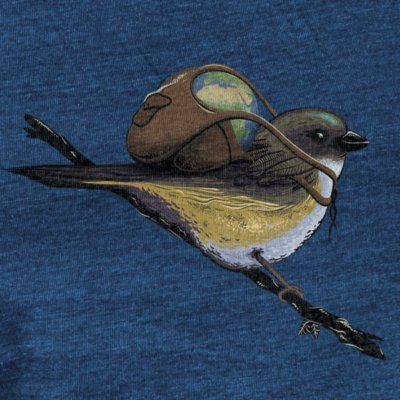 Robert Richter Save the Planet Bird mid washed indigo