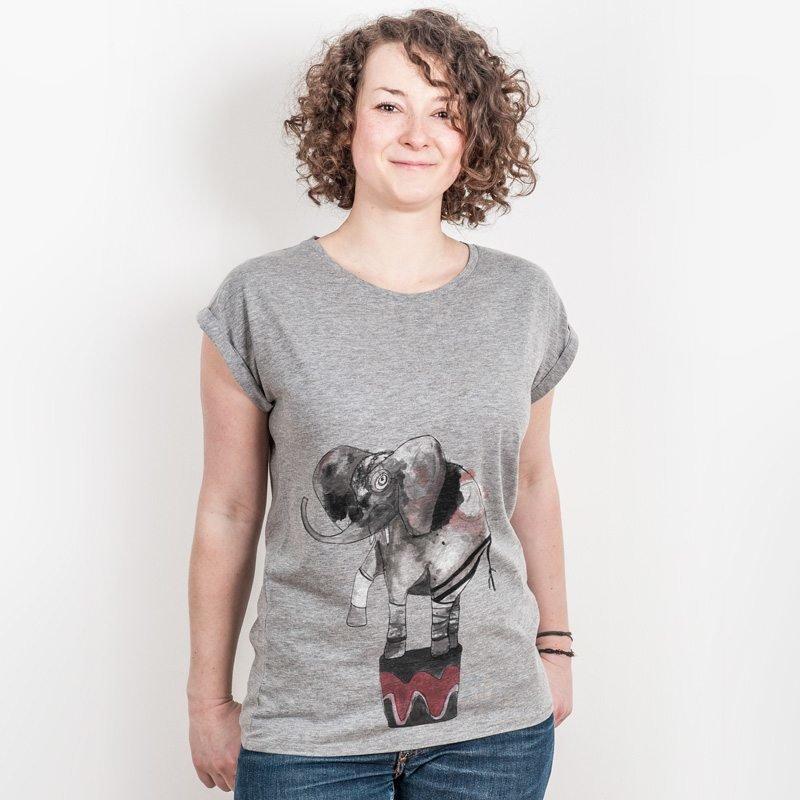 miinuc Elephant Ladies Rolled-Sleeve T-Shirt