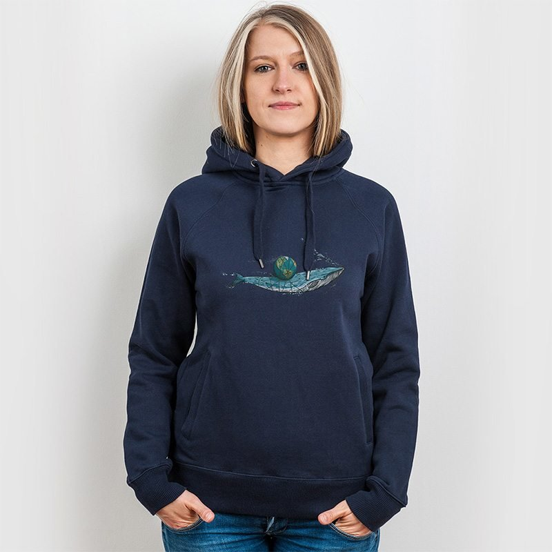 Robert Richter Save the Planet Whale Ladies Hooded Sweatshirt
