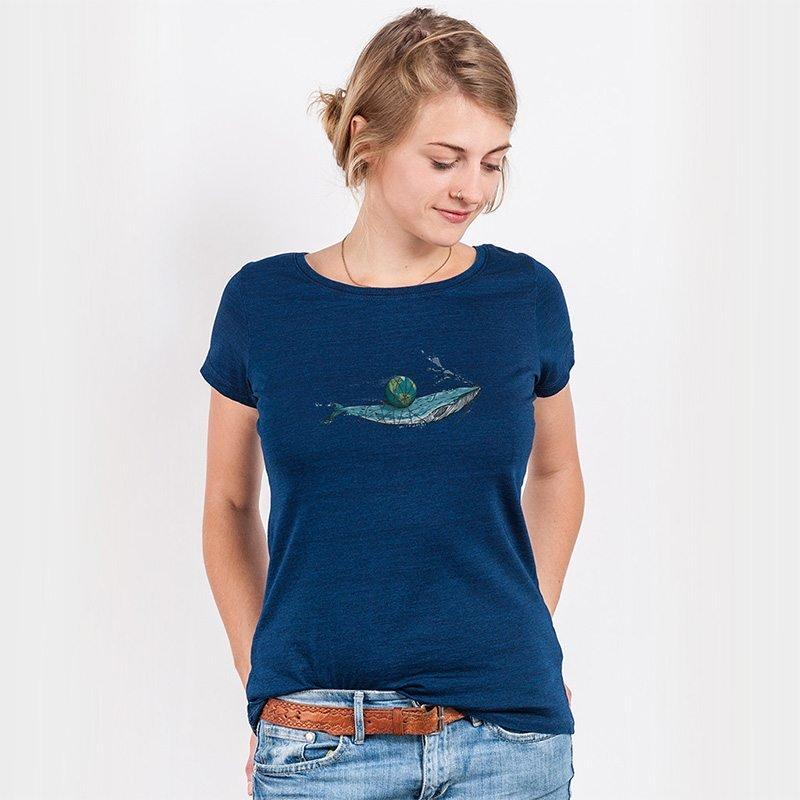 Robert Richter Save the Planet Whale Ladies Denim Organic Round Neck T-Shirt
