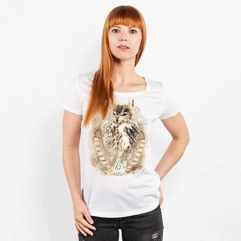 Ars Magna Ancient Owl Ladies Lightweight Organic Cotton Modal T-Shirt