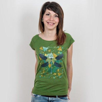 Ars Magna Emerald Dragonfly Ladies Organic Bamboo T-Shirt