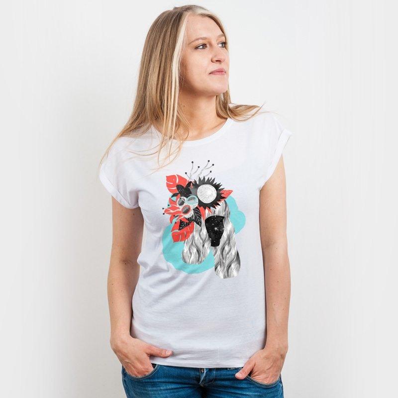 Inga Israel Tunguska Ladies Organic Bamboo Rolled-Sleeve T-Shirt