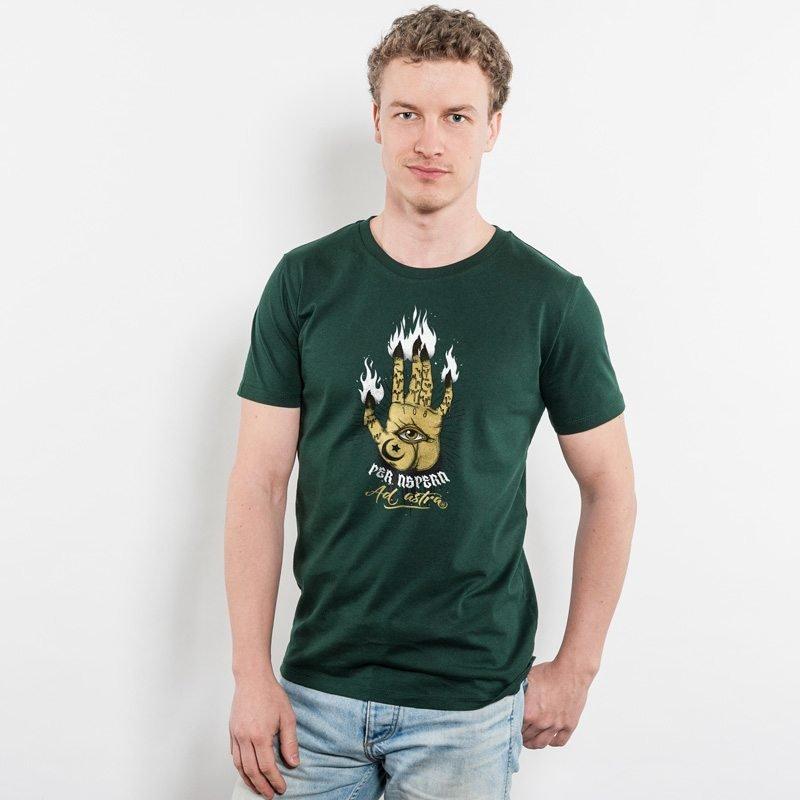 Jase 34 Per Aspera Ad Astra Mens Organic Cotton Classic T-Shirt - scarab green