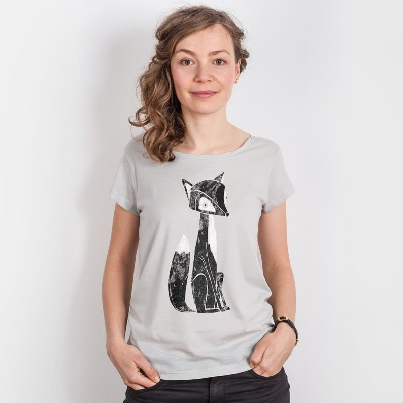 Keregan* Lovely Fox Ladies Organic Cotton Tencel T-Shirt (grey violet)