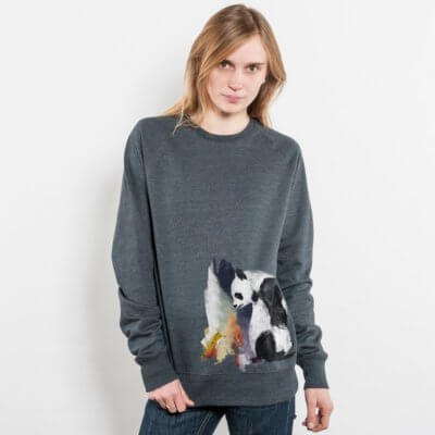 Life in Vanilla Panda and Fox Ladies Recycled Organic Sweatshirt