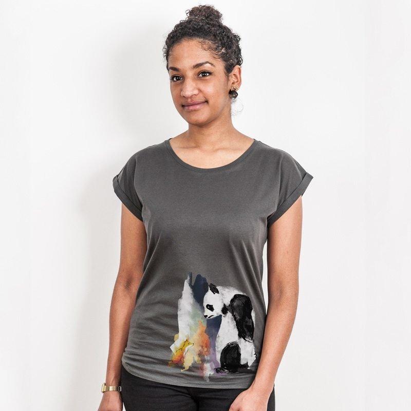 Life in Vanilla Panda & Fox Ladies Rolled-Sleeve T-Shirt