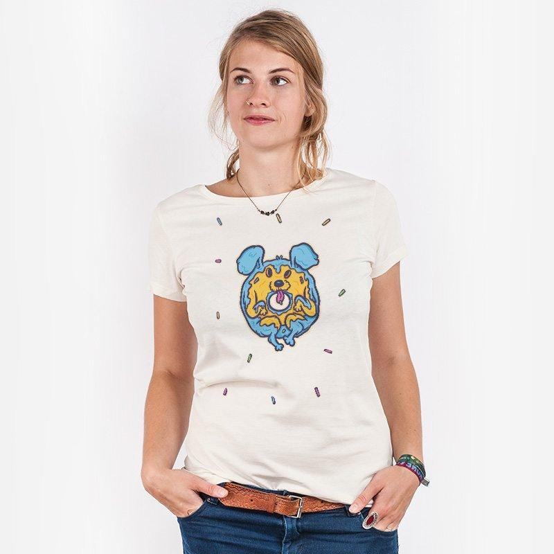 Pencake Donut Dog Ladies Organic Cotton T-Shirt