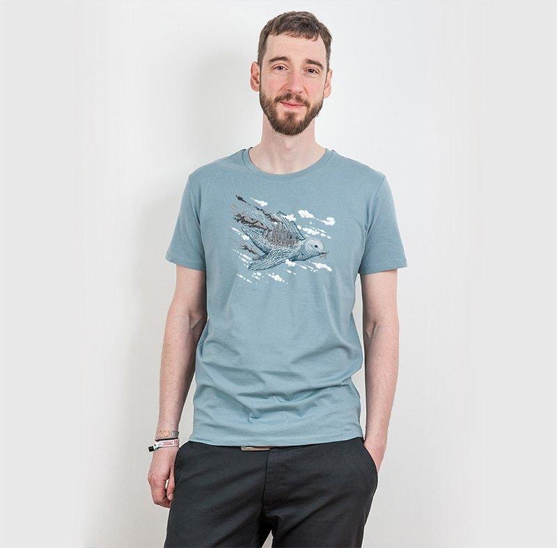 Robert Richter Clean the World Bird Mens Organic Cotton T-Shirt