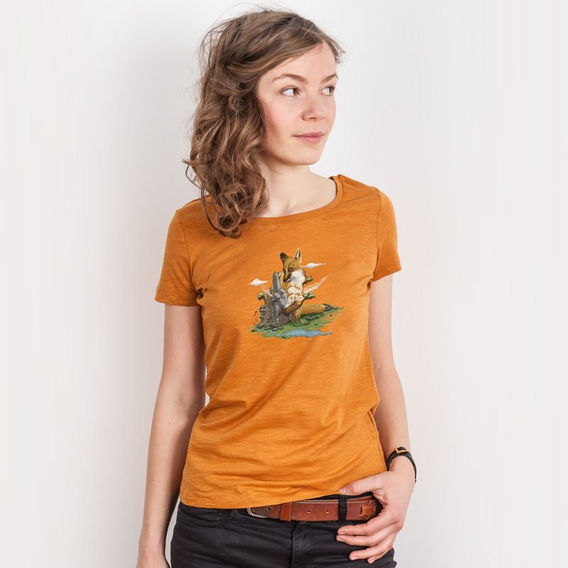 Robert Richter Clean the World Fox Ladies Lightweight Organic Cotton Slub T-Shirt