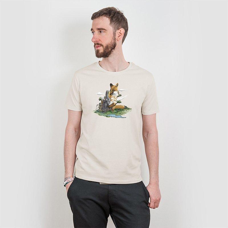 Robert Richter Clean the World Fox Mens Classic Cotton T-Shirt linen