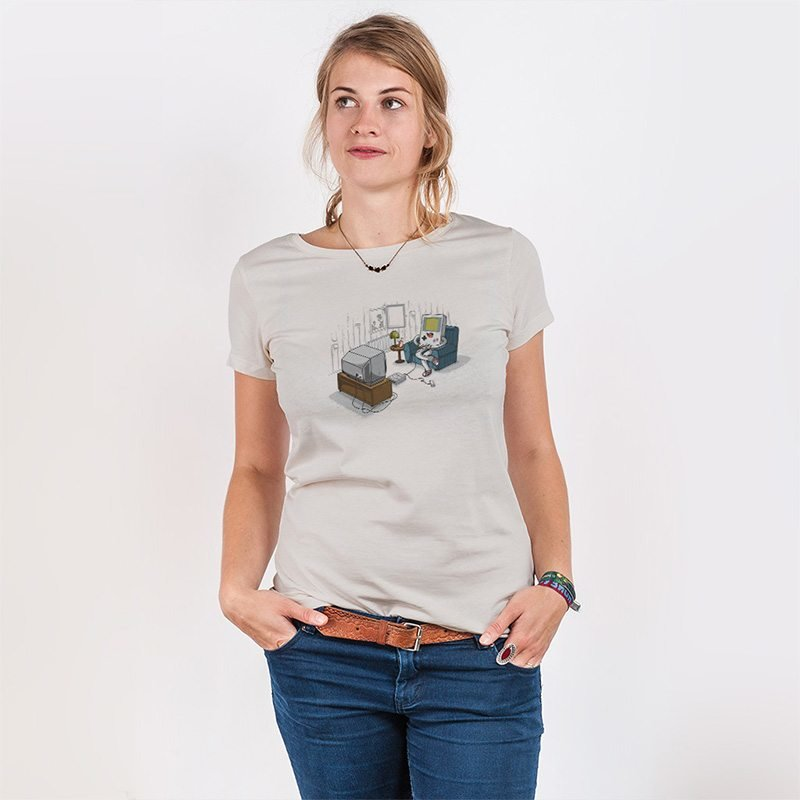 Robert Richter Computer Love Ladies Organic Round Neck T-Shirt