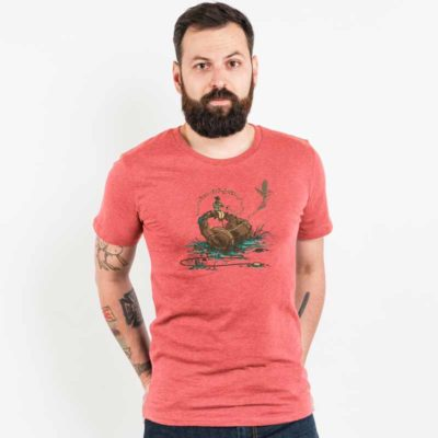 Robert Richter Flying Sounds Mens Organic Cotton T-Shirt mid heather red