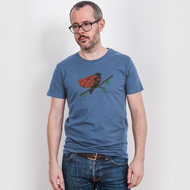 Robert Richter Super Bird Mens Classic Cotton T-Shirt - faded denim