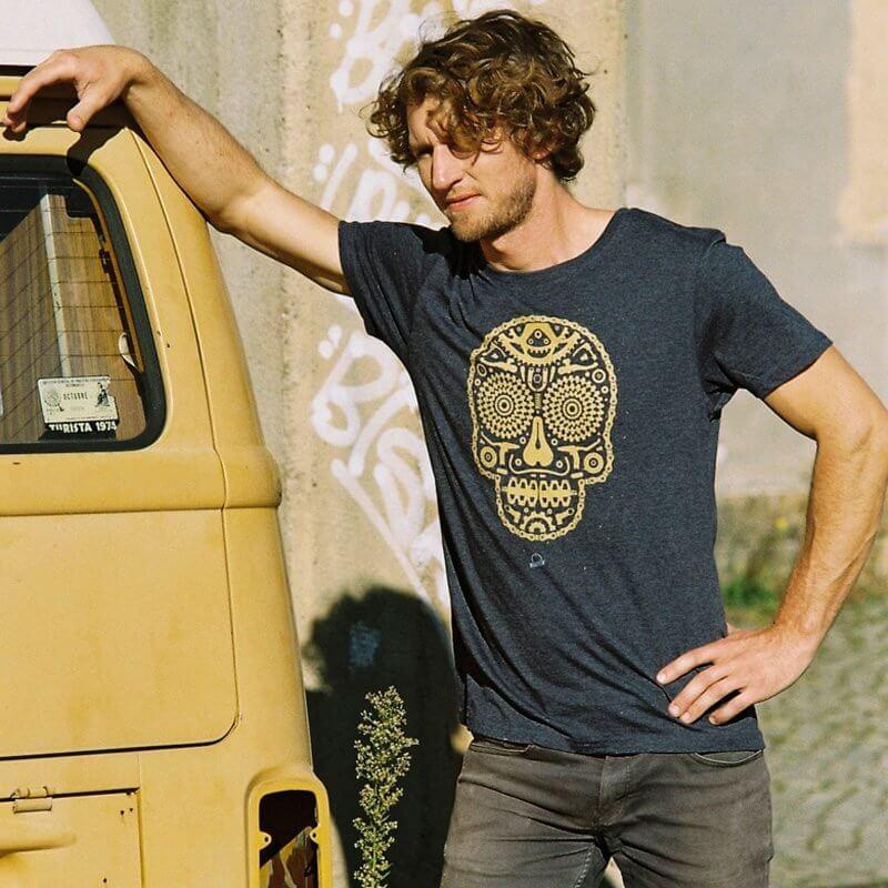 Douze Bikeskull Mens Recycled Organic T-Shirt Outdoor Max