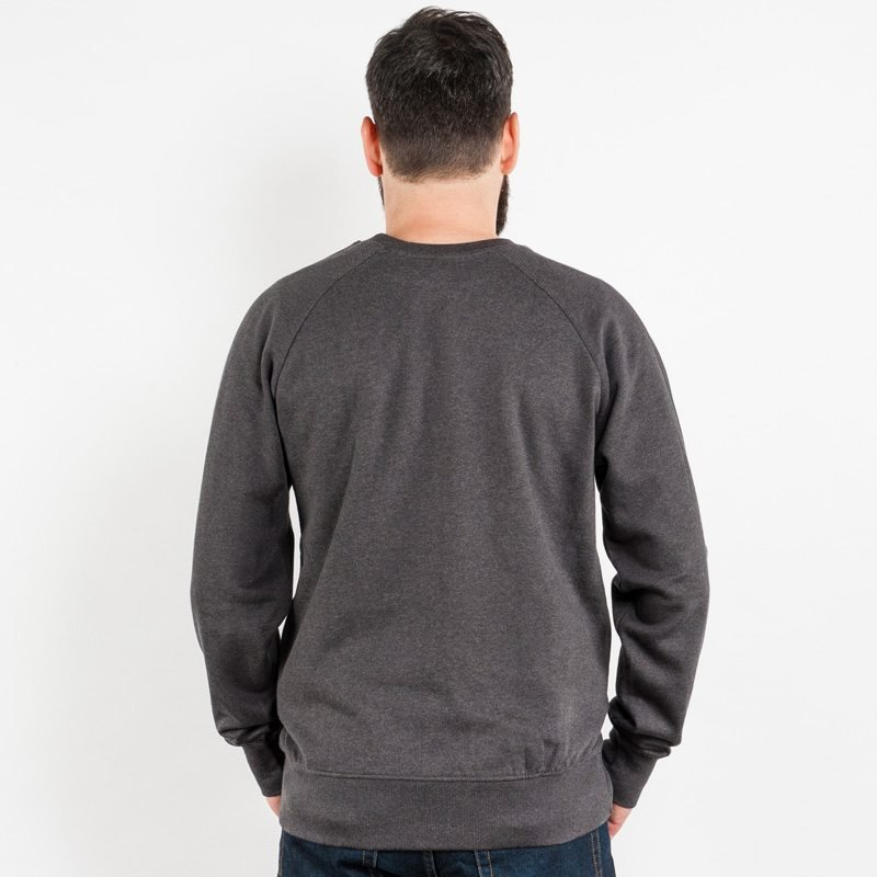 Earth Positive EP65 Mens Organic Cotton Sweatshirt - black heather grey - Rear View