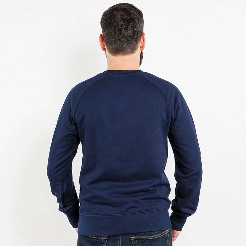 Earth Positive EP65 Mens Organic Cotton Sweatshirt - navy blue - Rear View