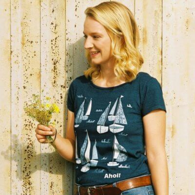Keregan Schiff Ahoi Ladies Organic Denim Round Neck T-Shirt - Rikke 1