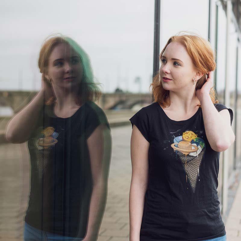 Robert Richter Galactic Ice Cream Ladies Organic Bamboo T-Shirt Outdoor 2