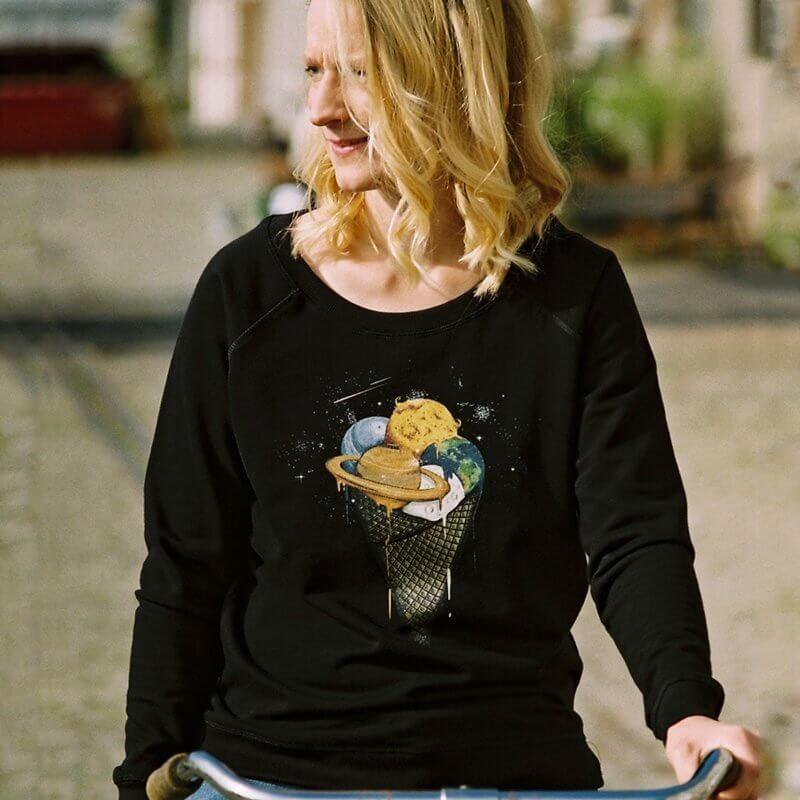 Robert Richter Galactic Ice Cream Ladies Organic Cotton Sweatshirt - Rikke 1