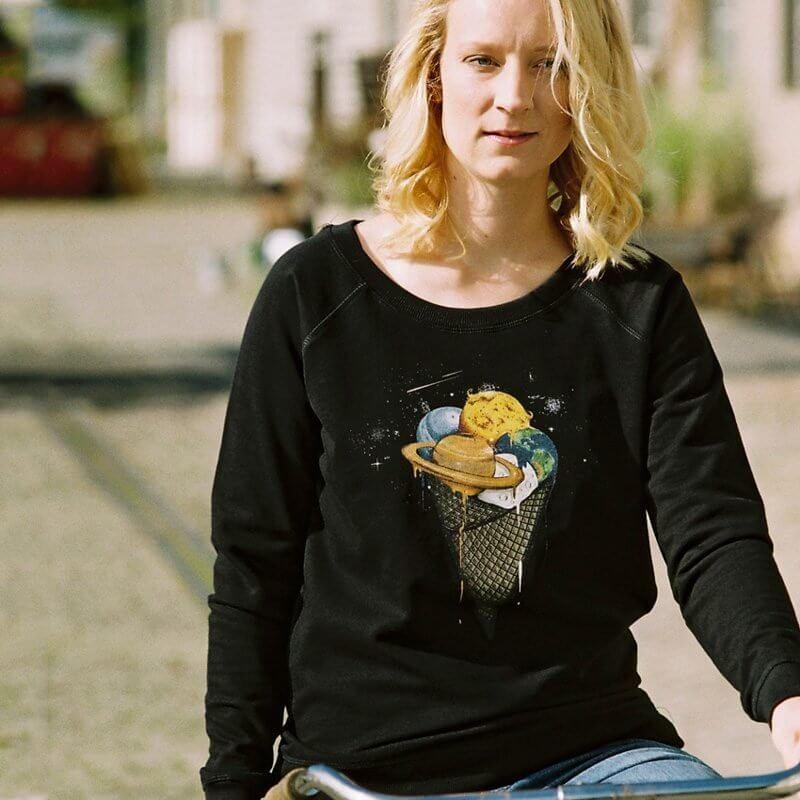 Robert Richter Galactic Ice Cream Ladies Organic Cotton Sweatshirt - Rikke 2