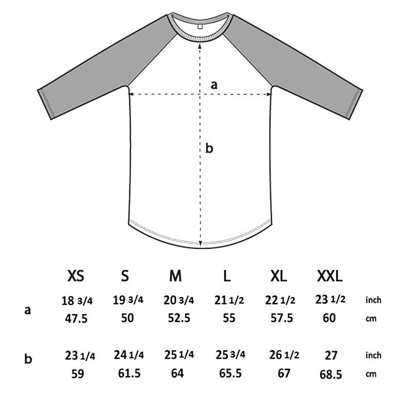 Salvage SA22 Unisex Recycled Organic Baseball T-Shirt Size Chart