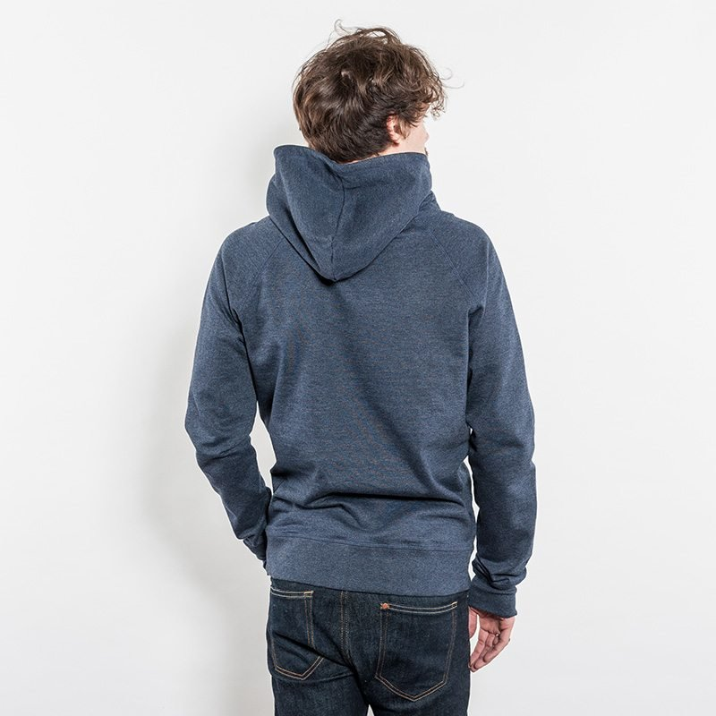 Salvage SA41P Unisex Recycled Organic Hooded Sweatshirt Rear View melange navy