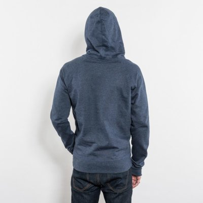 Salvage SA41P Unisex Recycled Organic Hooded Sweatshirt Rear View Hood melange navy