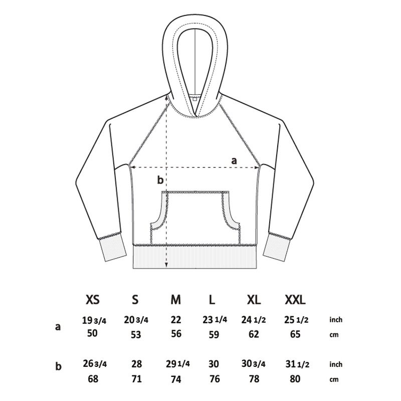 Salvage SA41P Unisex Recycled Organic Hooded Sweatshirt Size Chart