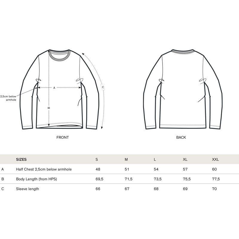 Stanley Shuffles Denim Organic Round Neck Longsleeve T-Shirt Size Chart