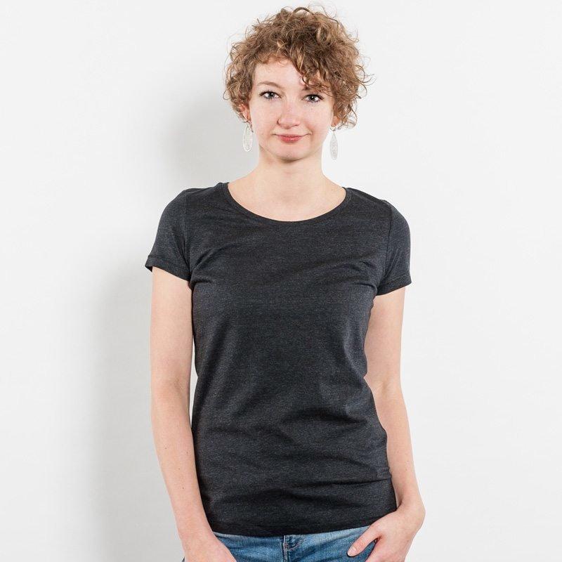 Stella Loves Ladies Lightweight Organic Cotton T-Shirt - Jule Front heather black denim