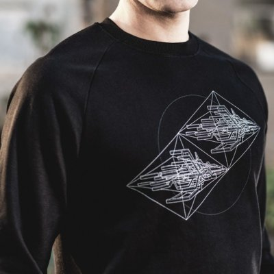 ruestungsschmie.de Starships Mens Organic Cotton Sweatshirt Close Up