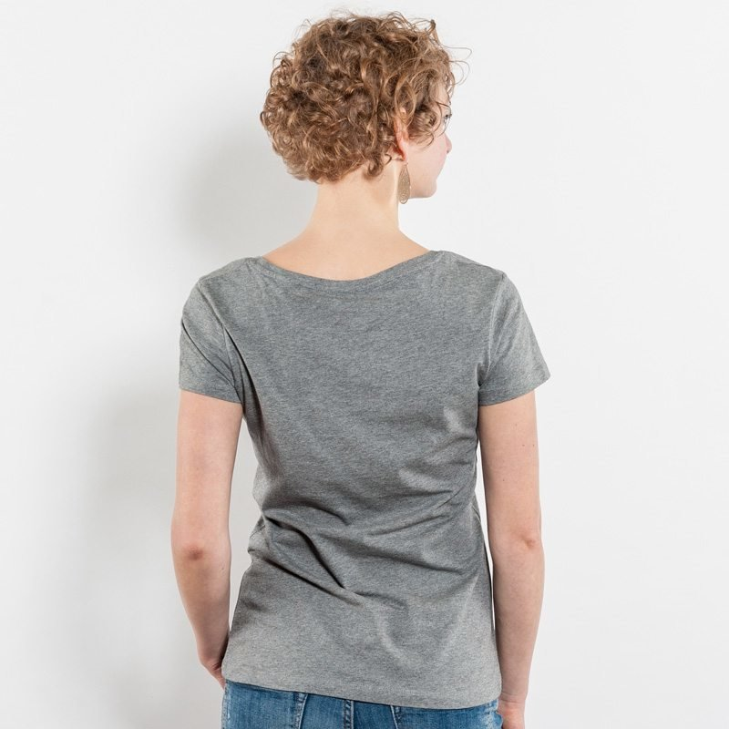 Stella Wants Ladies Organic Round Neck T-Shirt - Jule Back mid heather grey